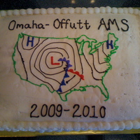 "Weather Map Cake For our American Meteorological Society chapter's annual picnic. 11 x 15 single layer ""Funfetti"" cake with white Wilton..."