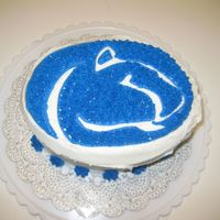 Penn State Cake Made for a football party, even though it isn't technically just for a football team. Freehand outline with star-tipped interior. The...