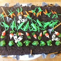 "Easter/spring Celebration Peter Cottontail. Veggies and bunnie tails/feet are all MMF, oreo crumbs for ""dirt"". This was so fun to make!"
