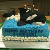 "Whale Cake Made this Shamu cake for a 5 year old who loves whales. The whale was made with rice crispie treats. Thanks to ""jhay"" 's..."
