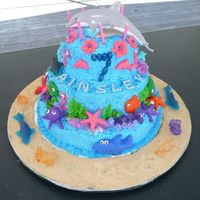 Under The Sea Dolphin Cake My niece asked me to make her a cake with her 2 favorite plastic dolphin toys on top of it. It was made with buttercream frosting and...