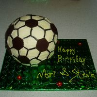 Soccer Ball Made this from scratch in 2 cake pans, for my partners and bro in laws combined b'days...both huge soccer fans! After I made it I...