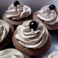 Mocha!   Mocha cupcakes with mocha smbc topped with chocolate-covered espresso beans.