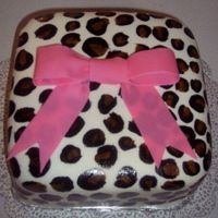 Mmf (Except For The Bow, That Is Wilton Fondant) With Painted Leopard Spots My First Attempt At Mmf And Painting On It. I love MMF it was so easy to put on th ecake, not to mention it took less than 5 minutes to make the MMF. I painted on the cake with Wilton...