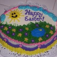Easter Spring Cake Cream Cheese BC decorations on top of carrot cake.