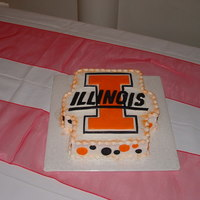 "Illini Groom's Cake Basically just buttercream, with a fondant cut out ""I"" and then cut out letters for Illinois placed acrossed it. I added the..."