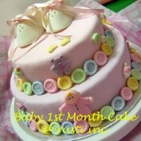 Baby Girl 1St Month Cake Yoghurt buttercake covered in MMF with sugarpaste accents