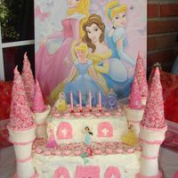 Princess Castle Cake Double layer cake with white icing. Regular ice cream cones dipped in white chocolate and stuck with bottoms together. Sugar cones dipped...