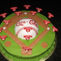 "Baseball Team Cake This was made for my son's baseball team that was sponsored by Coca-Cola. It is a simple 14"" round iced in green buttercream (for..."