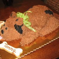"Puppy Party Cake This puppy cake was made using a 10"" round cut in half and stood on end for the back end of the dog. The head was carved from a 6&quot..."