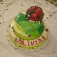Ladybug Birthday Cake  Three tiered covered with fondant. Vanilla cake with fresh cream and strawberry filling. Ladybug is homemade carrot for 1 yr old. BC...