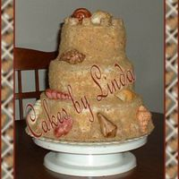 "Bill's Sandcastle B-Day Cake OK... this is a 10"" 8"" and 6"" topper.... Banana nut cake, with whimisical buttercreme filling, faux fondant icing, and the..."