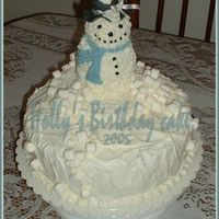 "Holly's Birthday Cake""2005"" This is white sour creme cake, buttercreme icing..hat is a large marshmallow covered in fondant.Snowman is the mini teddiebear cake mold..."
