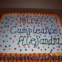 Alejandra 1St Birthday French vanilla cake, buttercream frosting & accents.