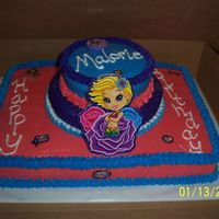 "Lisa Frank Theme Birthday Cake French vanilla cake w/buttercream icing. The decorations are out of the gift for the birthday girl - it was a box of Lisa Frank ""stuff..."