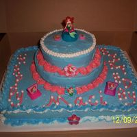 Little Mermaid Cake French Vanilla cake, buttercream icing, this was sort of a last minute thing & I had to scrounge for something to put on the cake.