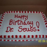 2Nd Cake For Dr. Seuss Party I didn't want to do 2 buttercream transfers & they needed 2 cakes, so I got lazy on this one!