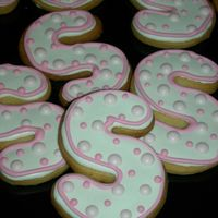 "Monogram ""s"" Cookie for my niece 1 of 2 cookie design for her 7th bday.TFL!"
