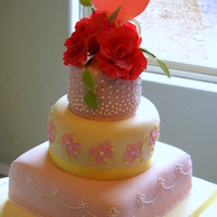 Desi   Mom-to-be wanted a feminine, elegant cake. Flowers and carriage are gumpaste. TFL.