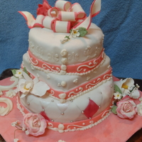 Pretty In Pink  There are a bunch of firsts on this cake for me! First three tired cake, first time trying the peral dust/painting, first time using the...