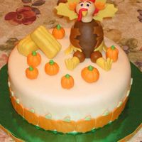 "Thanksgiving Turkey Cake 9"" Carrot cake w/ cream cheese icing & Toba Garrett's fondant. Made for co-worker who wanted to bring a 'centerpiece&#..."
