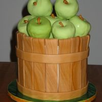 "Apple Basket, Side View Apple spice cake covered in buttercream w/ fondant ""basket"", apples are RK coated in chocolate and fondant. Wish they weren'..."