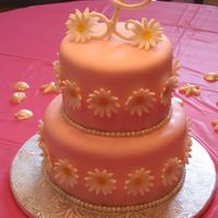 "Daisy Bridal Shower Bride's colors are bubblegum pink & white. Daisies are bright & cheery just like her personality. 6 & 8"" white cake w..."