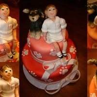 A Girl And Her Puppy A friend wanted a dog themed cake for her daughters birthday to celebrate their new puppy. Dog and girl are modeled after hers. (dog was...