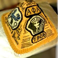 Alpha Phi Alpha Fraternity Pyramid Cake Done for a fraternity celebration, It's stacked sheet cakes carved and decorated with FBCT.