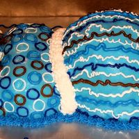 Baby Blue & Chocolate Brown Pregnant Mommy Tummy This was done for a blue & brown colored theme baby shower. This is my second pregnant tummy cake attempted. This one was requested to...