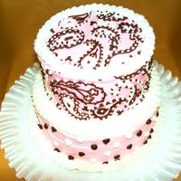 Pink & Brown Paisley Bridal Shower Cake Buttercream base with buttercream and chocolate details piped freehand.