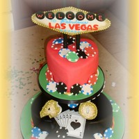 Las Vegas 40Th Birthday Bottom layer: chocolate cake with chocolate creamy pastry filling; covered & decorated with fondant; top layer: vanilla cake with...