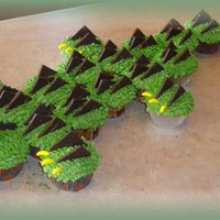 Croc In Cupcakes 24 vanilla cupcakes, arranged to form a crocodile! used a tip 44 to do the scales, on by one; eyes are marshmallow and brown smarties;...