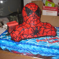 Spiderman Bear Pan reconstructed to make the bust for SpidermanCake Blocks for the City in the backgroud