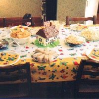 Country Cottage Again, poor quality photo taken several years ago. Had age of child as a number on the cottage door. House was yellow cake and roof was...