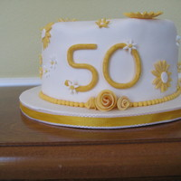 50Th Anniversary Cake Golden yellow accents for a golden anniversary cake