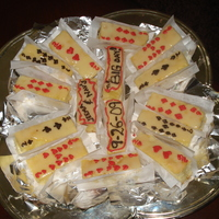 Playing Cards White choc brownies with white choc ganache and tinted choc for decoratons...