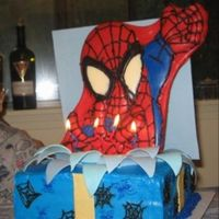 "Spiderman Cake Chocolate spiderman plaque; 10"" square chocolate cake and chocolate buttercream."