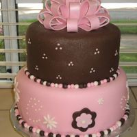 Pink And Brown Wedding Shower Fondant covered with fondant bow