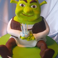 3D Shrek   all cake inside and was really dificult to scalpture and cover his head......