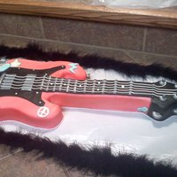 Guitar Cake I made this cake for a family friend. She had a rock star party. I made the cake to match the theme and the colors of the invite. The cakes...