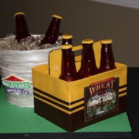 Boulevard Beer Groom's cake: fondant bucket, Sugar bottles and ice. Modeling choc for 6 pack and chocolate transfer logo.