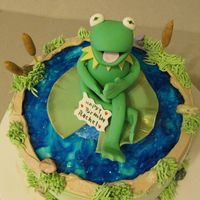 "Kermit The Frog On Is Pond This is a 6"" choc cake with Gumpast/fondant Kermit and Lily pad. Cat Tails are also gumpast/fondant. I did this for a client ."