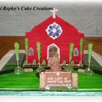 Church Cake I did this cake for our church's 70th Anniversary. Everything is edible except the statue of Mary.