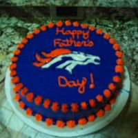 Denver Broncos Cake I made this for my dad for fathers day last year!