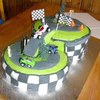 My Son's 5Th B-Day, Race Car Cake  This wasn't the best practice since I started 2 hours before the party started and that wasn't the only thing I had left to do :Z...