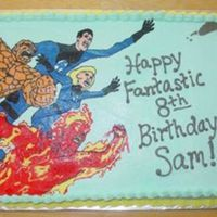 Fantastic Four  This is a frozen buttercream transfer that took forever. It's a 1/2 sheet cake, so the transfer sheet was over 11 inches tall. I'...