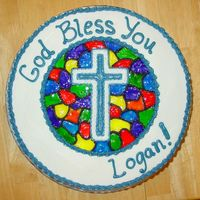 Logan's First Communion Cake  I LOVE this cake! It's for a First Communion, but could easily be used for a Baptism or Confirmation. The stained glass is made from...