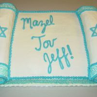 Torah Bar Mitzvah Cake This was my first attempt at making a scroll cake,as well as my first bar mitzvah cake. It's a half sheet with two jelly rolls for the...