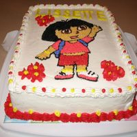 Dora The Explorer I'm not too pleased with how this turned out. The lettering turned out awful and the border on the near side started drooping. I must...